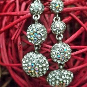 Four Drop Crystal Glass & Rhinestone Earrings